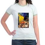 Cafe /Pekingese (r) Jr. Ringer T-Shirt
