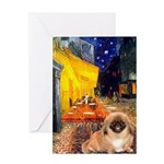 Cafe /Pekingese (r) Greeting Card