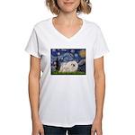 Starry / Pekingese(w) Women's V-Neck T-Shirt