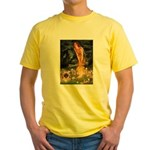 Fairies / Pekingese(r&w) Yellow T-Shirt