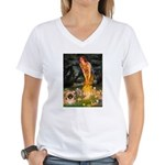 Fairies / Pekingese(r&w) Women's V-Neck T-Shirt