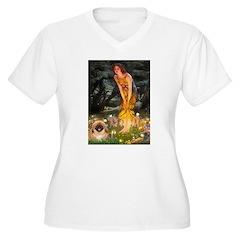 Fairies / Pekingese(r&w) Women's Plus Size V-Neck