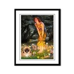 Fairies / Pekingese(r&w) Framed Panel Print