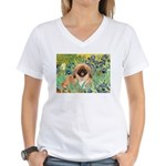 Irises / Pekingese(r&w) Women's V-Neck T-Shirt