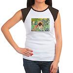 Irises / Pekingese(r&w) Women's Cap Sleeve T-Shirt