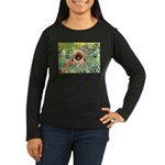 Irises / Pekingese(r&w) Women's Long Sleeve Dark T
