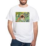 Irises / Pekingese(r&w) White T-Shirt