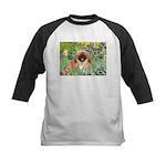 Irises / Pekingese(r&w) Kids Baseball Jersey