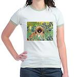 Irises / Pekingese(r&w) Jr. Ringer T-Shirt