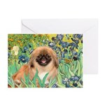 Irises / Pekingese(r&w) Greeting Cards (Pk of 10)