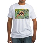 Irises / Pekingese(r&w) Fitted T-Shirt
