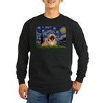 Starry / Pekingese(r&w) Long Sleeve Dark T-Shirt