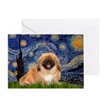 Starry / Pekingese(r&w) Greeting Card