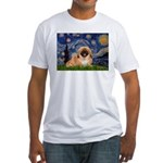 Starry / Pekingese(r&w) Fitted T-Shirt
