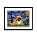 Starry / Pekingese(r&w) Framed Panel Print