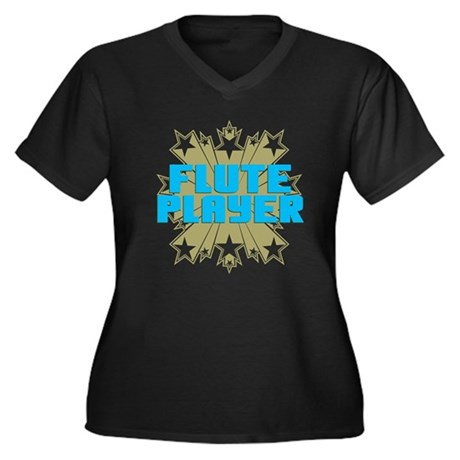 Star Flute Player Women's Plus Size V-Neck Dark T-