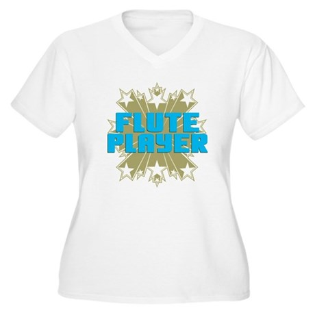 Star Flute Player Women's Plus Size V-Neck T-Shirt