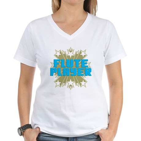 Star Flute Player Women's V-Neck T-Shirt