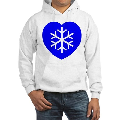 Love Blue Snowflake Heart Hooded Sweatshirt