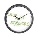 Green Crop Paper Scissors Wall Clock