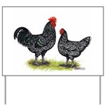 Java Rooster and Hen Yard Sign