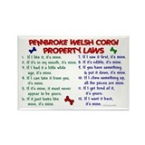Pembroke Welsh Corgi Property Laws 2 Rectangle Mag