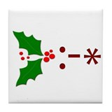 Kiss Emoticon - Mistletoe Tile Coaster