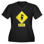Bull Rider XING Women's Plus Size V-Neck Dark T-Sh