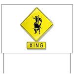 Bull Rider XING Yard Sign