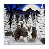 BEARDED COLLIE DOGS WINTER MOON Tile Coaster