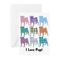 I Love Plaid Pugs Greeting Cards (Pk of 20)