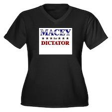 MACEY for dictator Women's Plus Size V-Neck Dark T