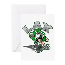 Lacrosse Player Green Uniform Greeting Cards (Pk o