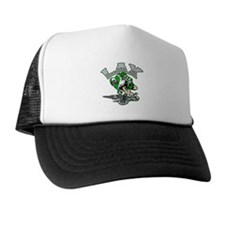 Lacrosse Player Green Uniform Trucker Hat