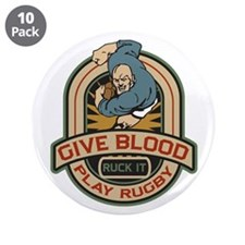 "Give Blood Play Rugby Logo 3.5"" Button (10 pack)"