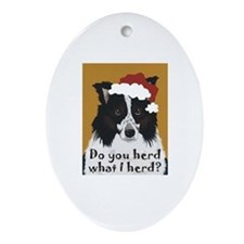 Australian Shepherd Do You Herd Oval Ornament