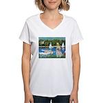 Bassin/Shih Tzu (P) Women's V-Neck T-Shirt
