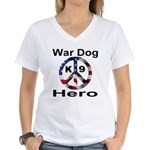 War Dog K9 Hero Women's V-Neck T-Shirt