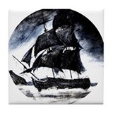ghostly ship Tile Coaster