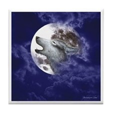 Moon Wolf ~ Tile Coaster (White Border)