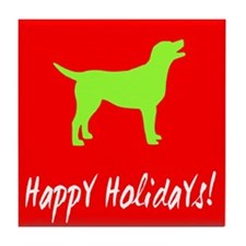 Happy Holidays Labrador Tile Coaster
