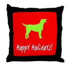Happy Holidays Labrador Throw Pillow