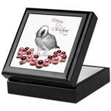 african grey christmas Keepsake Box