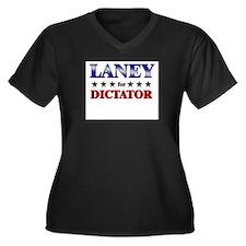 LANEY for dictator Women's Plus Size V-Neck Dark T