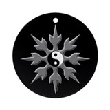 Yin Yang Throwing Star Ornament (Round)