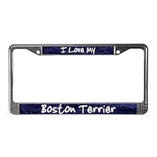 Funky Love Boston Terrier License Plate Frame