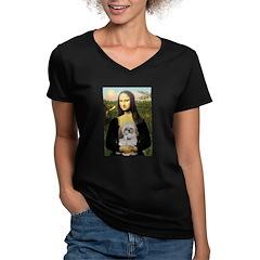 Mona Lisa/Shih Tzu (P) Women's V-Neck Dark T-Shirt