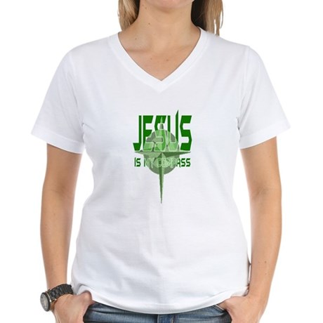 Jesus is My Compass - Green Women's V-Neck T-Shirt