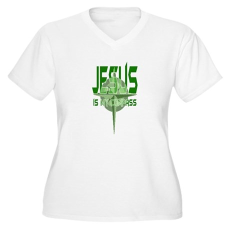 Jesus is My Compass - Green Women's Plus Size V-Ne