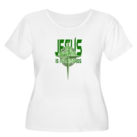 Jesus is My Compass - Green Women's Plus Size Scoo